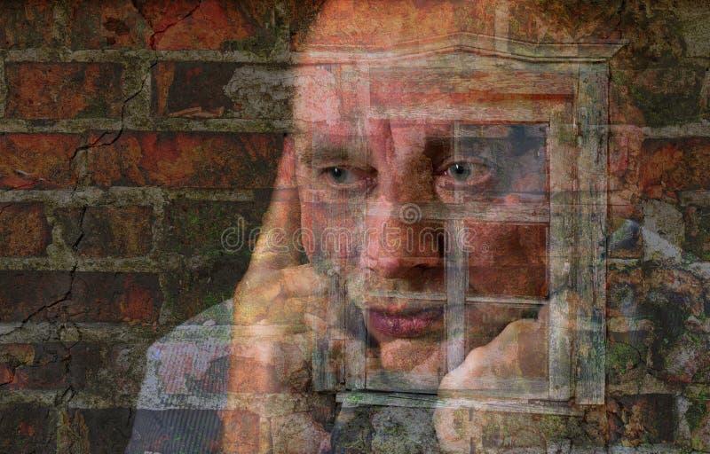 Wielokrotność exposured portret dojrzały mężczyzna obraz royalty free