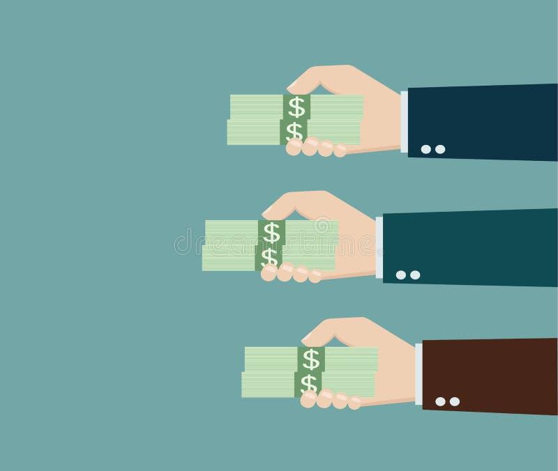Wielokrotność wręcza ofiara pieniądze kopii i wektoru przestrzeń royalty ilustracja