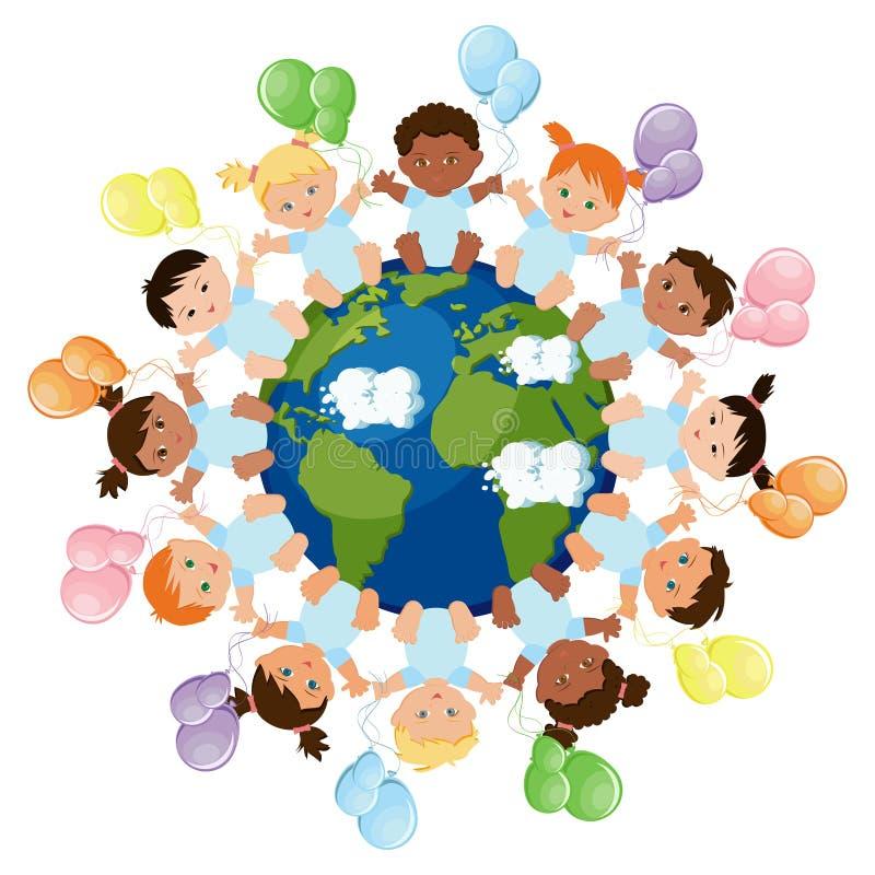 Wielokulturowa grupa dzieci siedzi wokoło planety ziemi royalty ilustracja