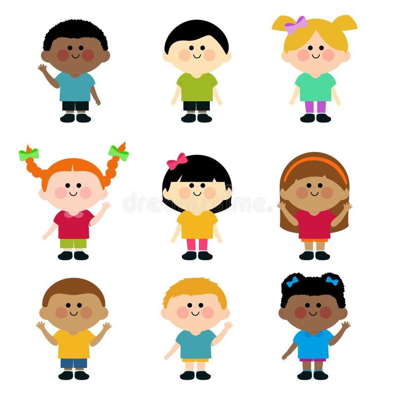 Wielokulturowa grupa dzieciaki. ilustracji