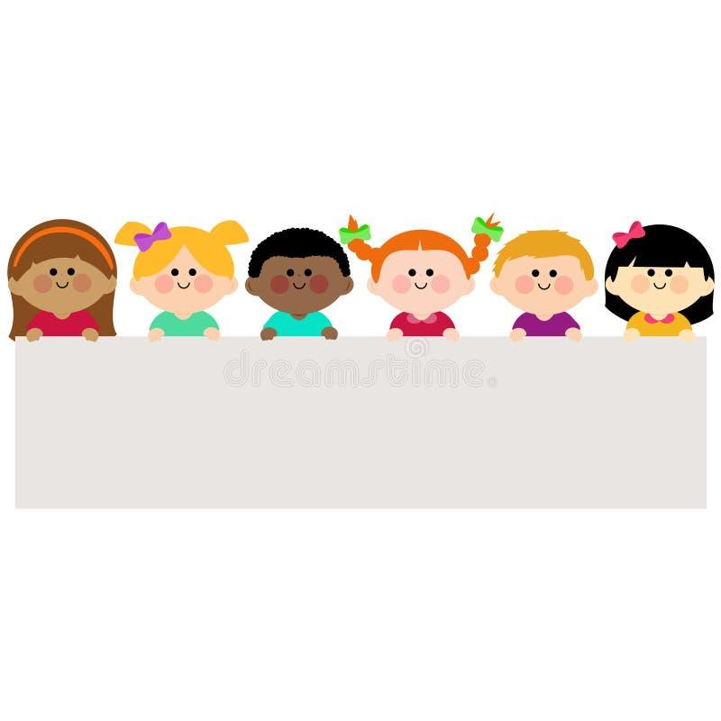 Wielokulturowa grupa dzieciaki trzyma horyzontalnego pustego sztandar ilustracja wektor
