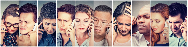 Wielokulturowa grupa smutni ludzie mężczyzna i kobiety opowiada na telefonie komórkowym zdjęcie royalty free