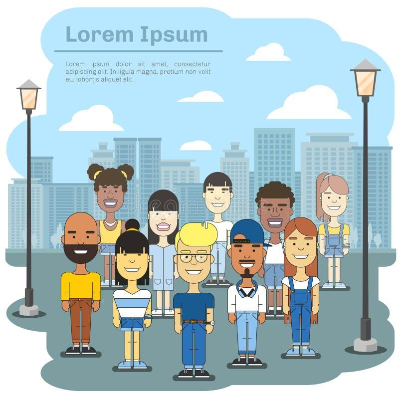 Wielokulturowa miasto drużyna Biznesowi międzynarodowi ludzie społeczności w grodzkiej wektorowej ilustraci royalty ilustracja