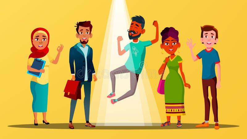Wielokulturowi charaktery Szczęśliwi Dla wakata wektoru ilustracja wektor