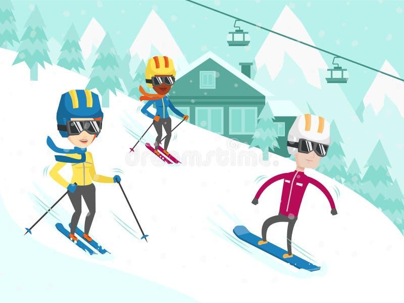 Wielokulturowi ludzie narciarstwa i jazda na snowboardzie ilustracji