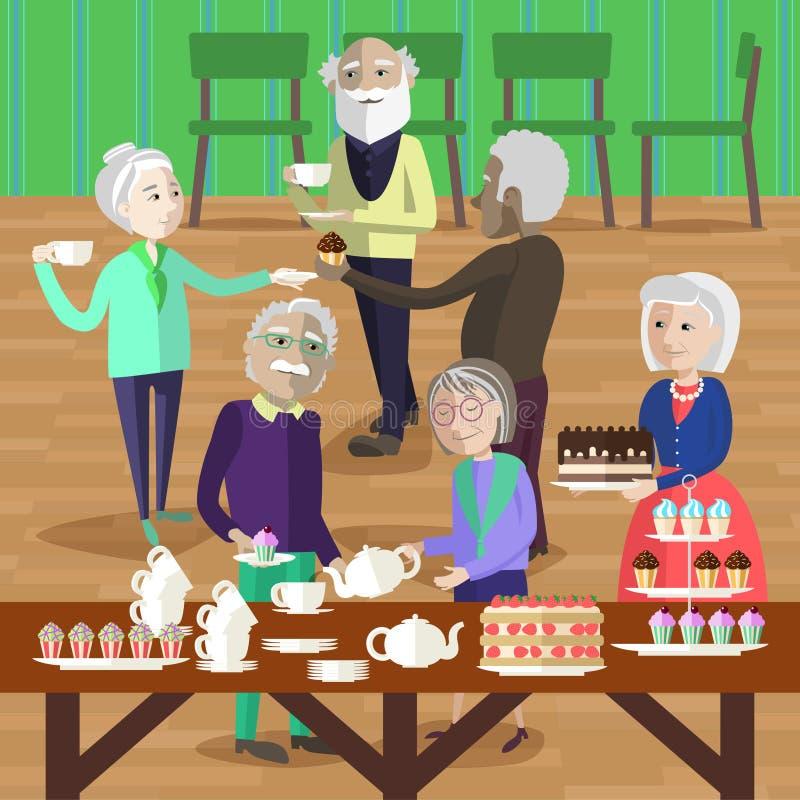 Wielonarodowi dojrzali ludzie taktują herbata i tort ilustracji