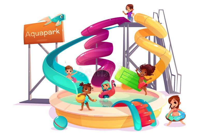 Wielonarodowi dzieciaki w woda parka kreskówki wektorze ilustracji