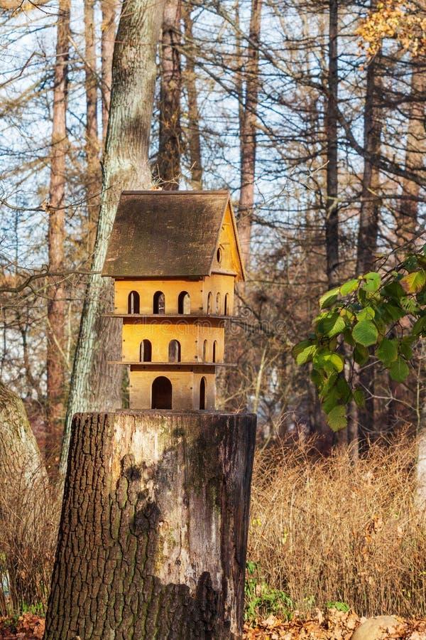 Wielopiętrowy birdhouse dla ptaków wielka drewniana żywieniowa synklina dla ptaków fotografia stock