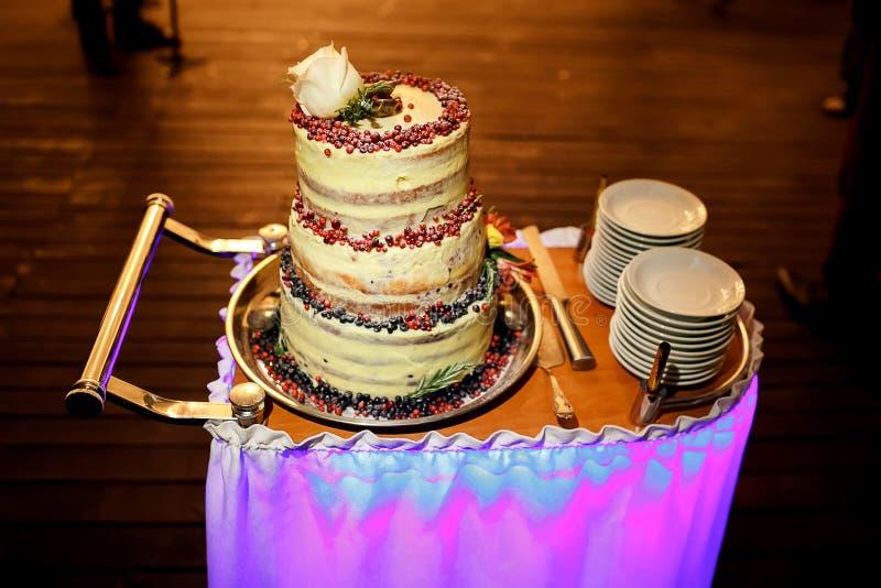 Wielopoziomowy ślubny tort z cranberries i biel różą przy wierzchołkiem, na tramwaju, nóż, talerze obraz stock