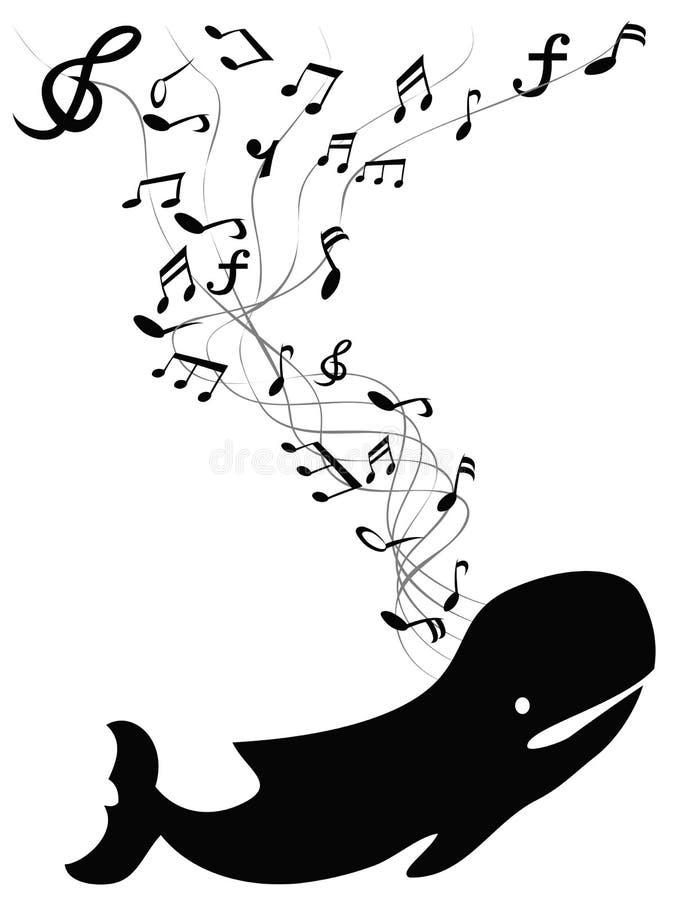 Wieloryb śpiewa z muzyki notatką royalty ilustracja