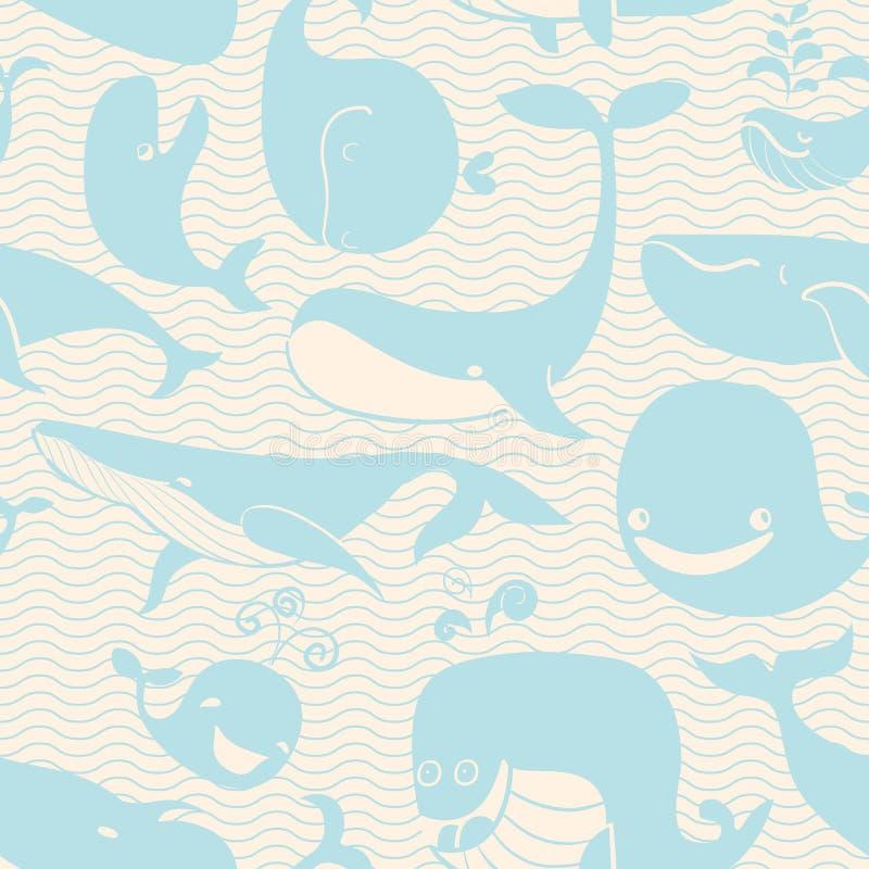 Wieloryb. Bezszwowy tło. Bezszwowy wzór może używać dla wal ilustracji
