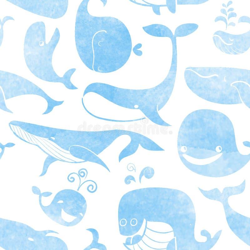 Wieloryb. Bezszwowy wzór. Wodnego koloru tło. Bezszwowy tupocze ilustracji