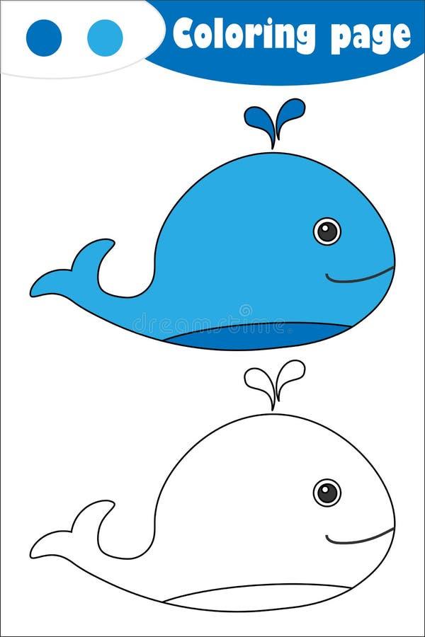 Wieloryb w kreskówka stylu, barwi stronę, edukacji papierowa gra dla rozwoju dzieci, żartuje preschool aktywność, printable ilustracji