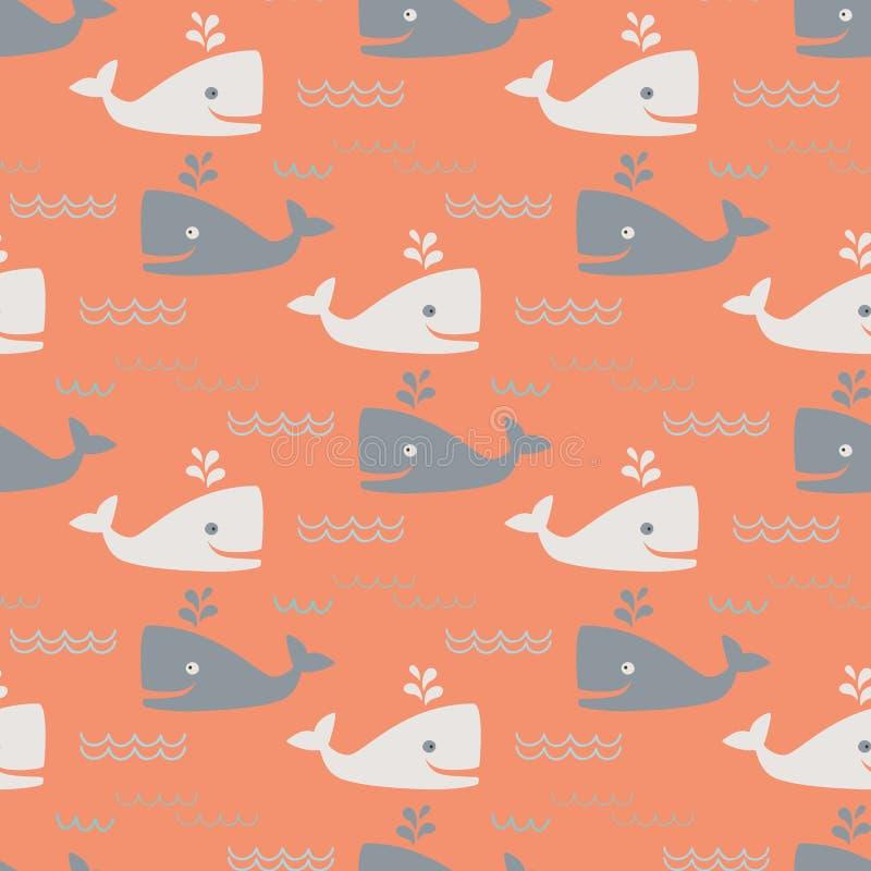 Wieloryba bezszwowy wzór ilustracja wektor