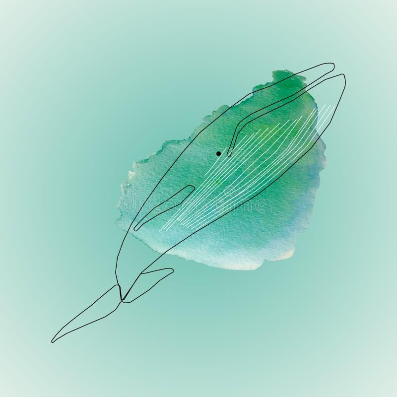 Wielorybi czerń kontur royalty ilustracja