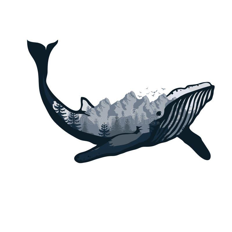 Wielorybi dwoisty ujawnienie Przyroda symbolu wielorybi dwoisty ujawnienie dla twój projekta, outdoors ilustracja wektor