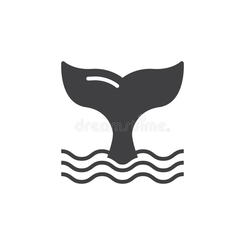 Wielorybi ogon ikony wektor, wypełniający mieszkanie znak ilustracja wektor