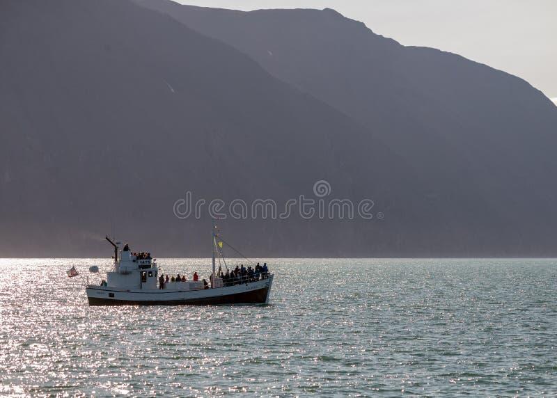 Wielorybia dopatrywanie łódź z pasażerami wychodzi Husavik dla waching Humpback wieloryba Iceland obrazy royalty free