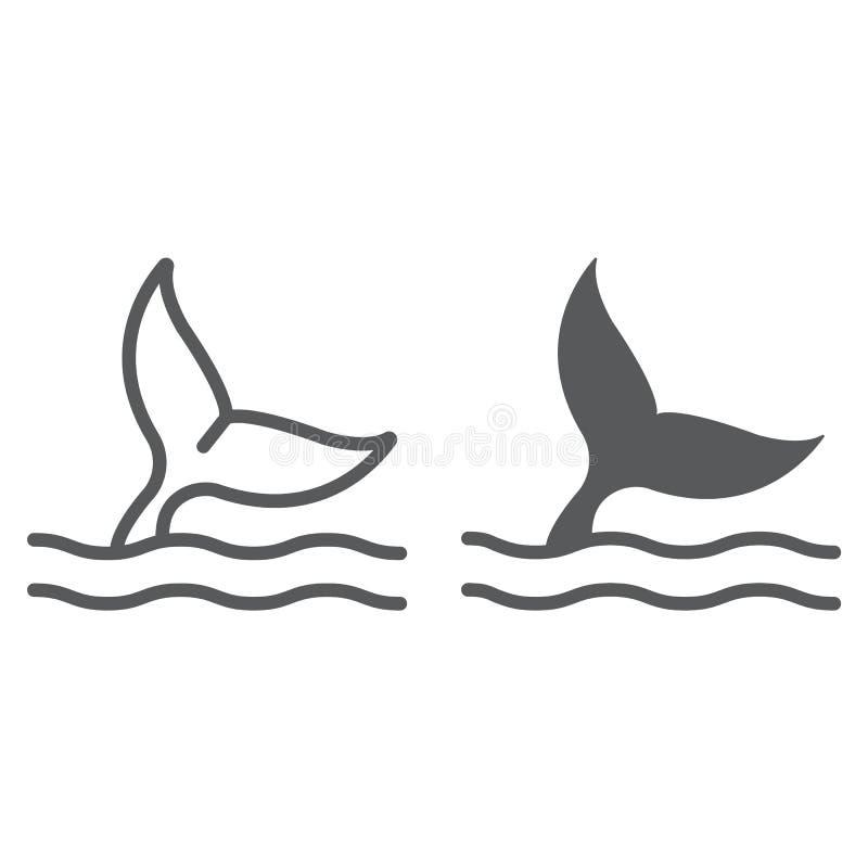 Wielorybia ogon linia i glif ikona, nadwodny i zwierzęcy royalty ilustracja