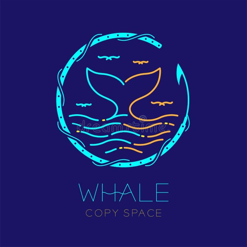 Wielorybia ogonu, seagull, fala i harpunu okręgu rama, kształtuje, logo ikony konturu uderzenia junakowania linii projekta ustalo ilustracja wektor