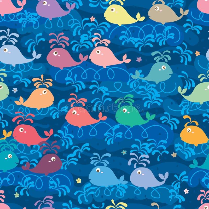 Wielorybiego kolor linii pływania bezszwowy wzór ilustracja wektor