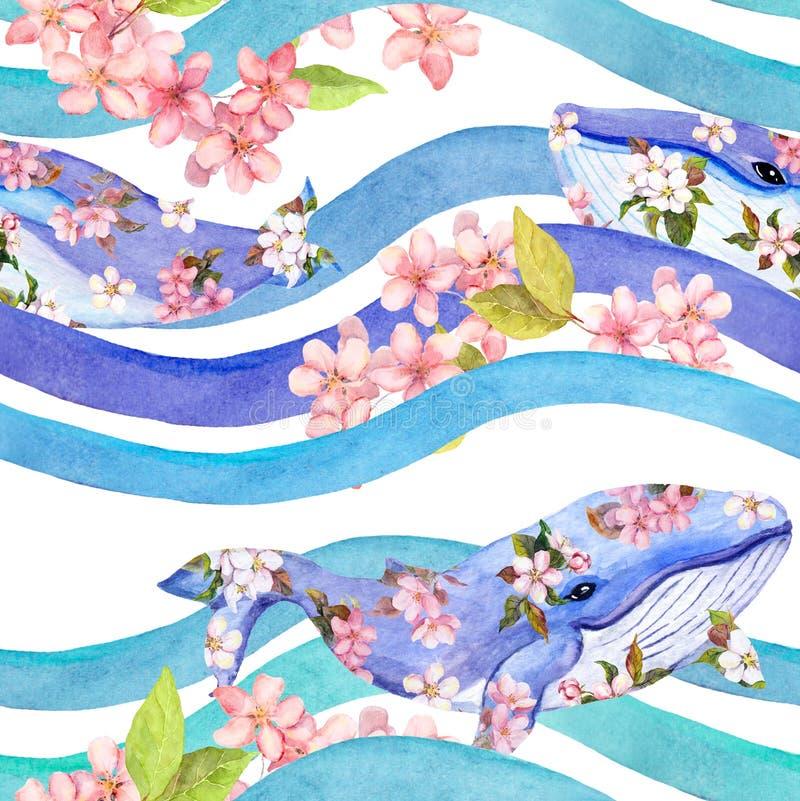 Wieloryby w różowych kwiatach w fala, lampasy bezszwowy wzoru akwarela ilustracji