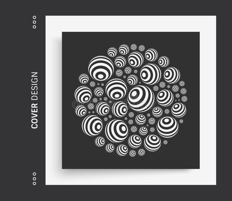 Wieloskładnikowe sfery na wielkiej sferze 3d abstrakcjonistyczny skład w futurystycznym stylu Okładkowy projekta szablon Wektorow royalty ilustracja