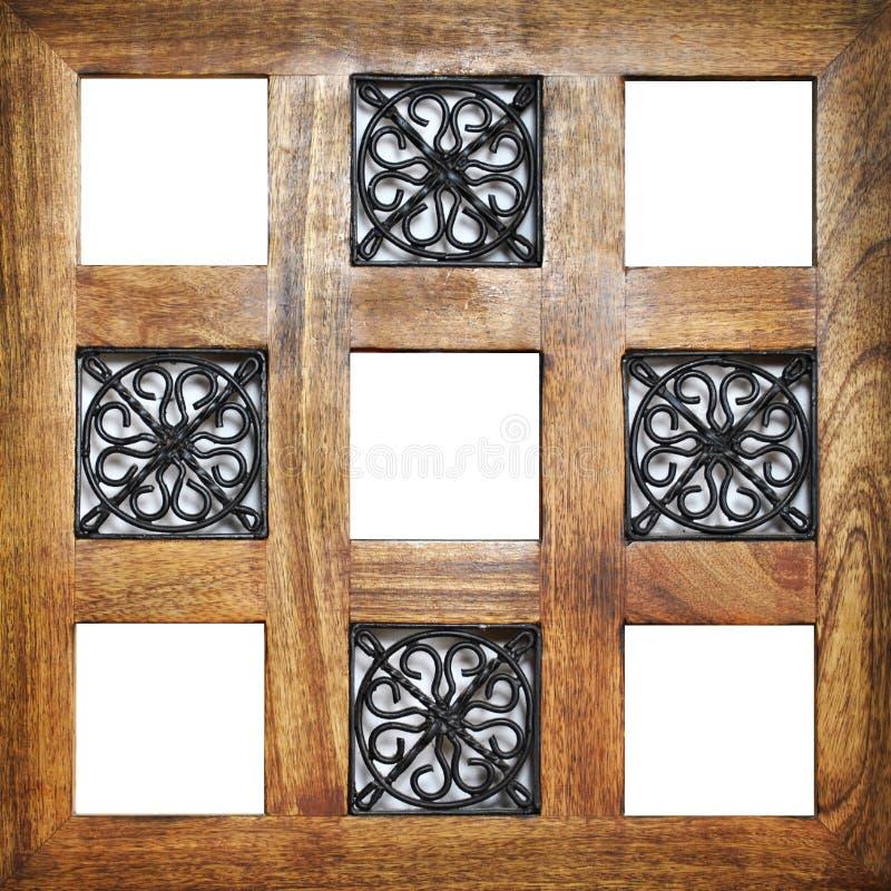 Wieloskładnikowe drewniane puste ram pozycje fotografia stock