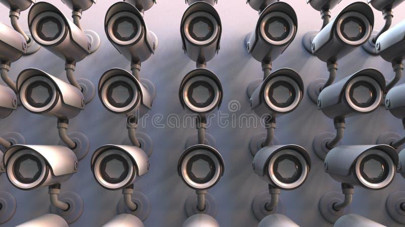 Wieloskładnikowe inwigilacj kamery Jawny bezpieczeństwo lub prywatność odnosić sie konceptualnego 3D rendering ilustracji
