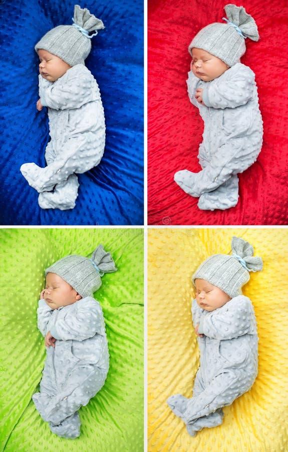 Wieloskładnikowy obrazek nowonarodzony dziecko zdjęcia stock
