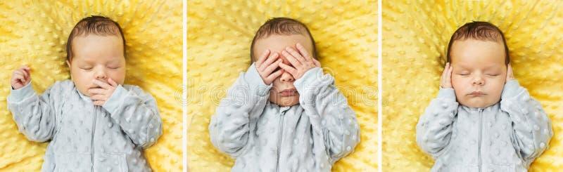 Wieloskładnikowy obrazek nowonarodzony dziecko zdjęcia royalty free