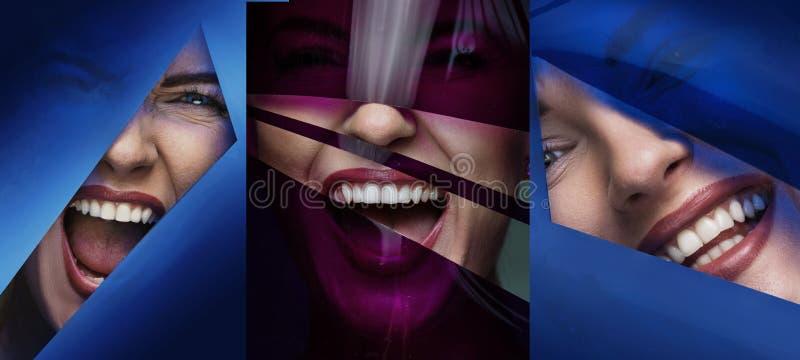 Wieloskładnikowy portret żeńska twarz za plastikową taśmą zdjęcie royalty free