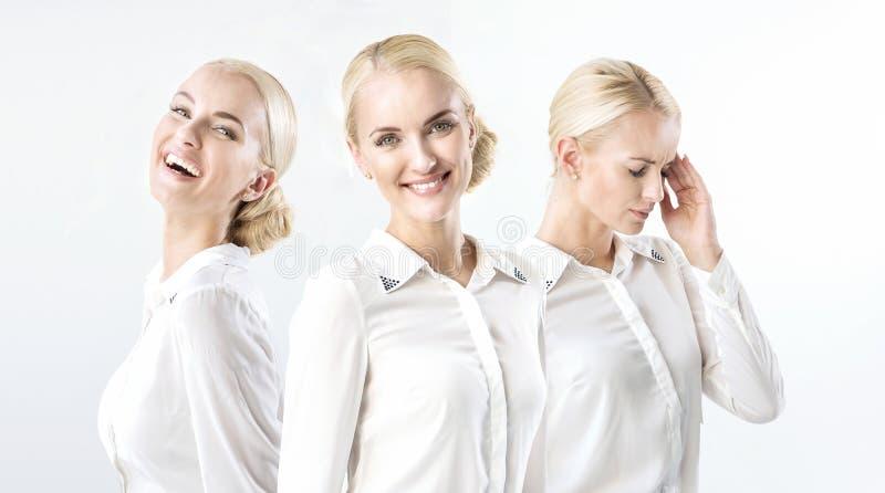 Wieloskładnikowy portret blond bizneswoman w szczęśliwym, złym nastroju/ fotografia royalty free
