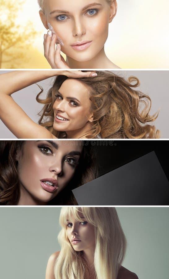 Wieloskładnikowy portret cztery oszałamiająco damy zdjęcia stock