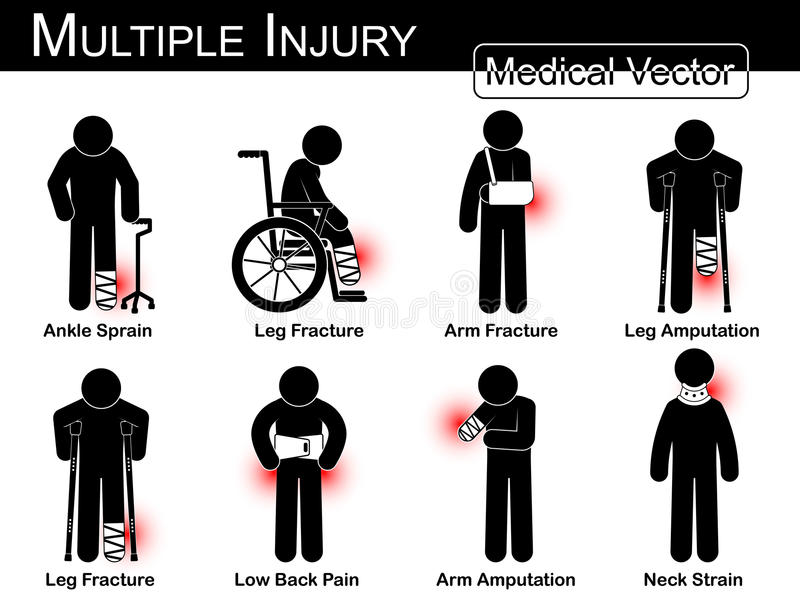 Wieloskładnikowy uraz ustawia (kostki zwichnięcie, noga przełam, ręka przełam, nogi amputacja, noga przełam, Niski ból pleców, rę ilustracji
