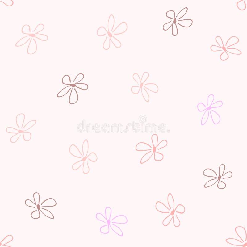 Wielostrzałowi praforma kwiaty rysujący ręką śliczny kwiecisty deseniowy bezszwowy ilustracji