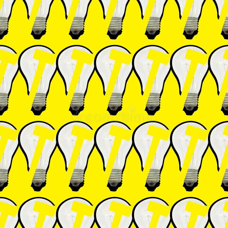 Wielostrzałowy jaskrawy bezszwowy wzór szklane żarówki i młot na żółtym tle obrazy royalty free