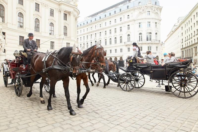 Wien, Österreich - 15. April 2018: ein Taxifahrer in einem Wagen mit zwei Pferden fährt Touristen um die Stadt stockbilder