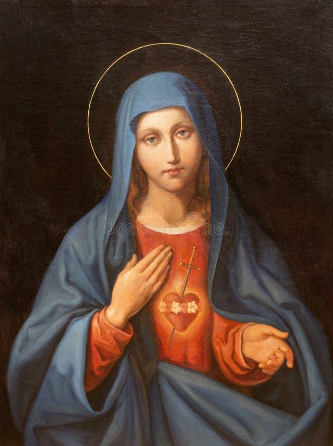 WIEN, ÖSTERREICH - 19. DEZEMBER 2016: Die Malerei des Herzens von Jungfrau Maria in Kirche kirche St. Laurenz lizenzfreies stockbild