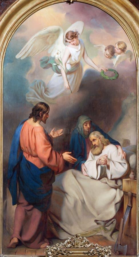 WIEN, ÖSTERREICH - 19. DEZEMBER 2016: Die Malerei des Todes von St Joseph in Kirche kirche St. Laurenz lizenzfreie stockbilder