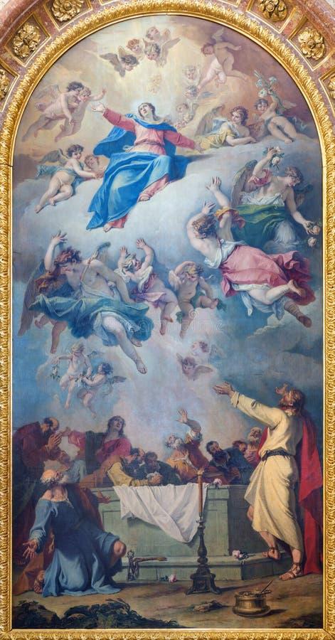 WIEN, ÖSTERREICH - 30. JULI 2014: Die Malerei der Annahme von Jungfrau Maria auf dem Seitenaltar von Kirche St. Charles Borromeo stockbilder