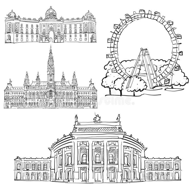 Wien Österrike berömda byggnader vektor illustrationer