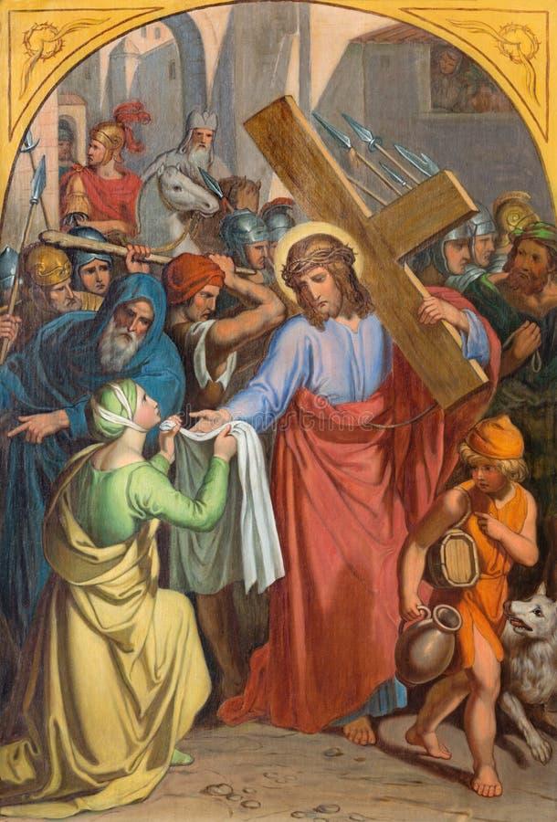 WIEN ÖSTERRIKE - DECEMBER 19, 2016: Den måla Veronicaen torkar framsidan av Jesus i kyrklig kircheSt Laurenz royaltyfria foton