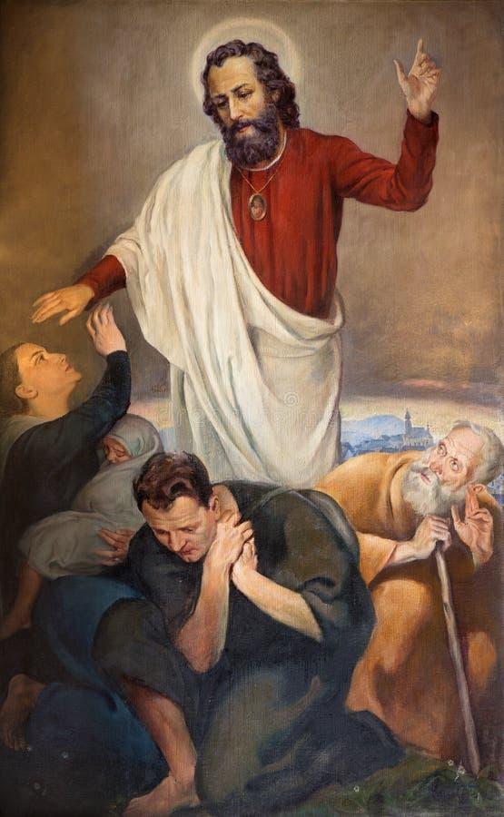 WIEN ÖSTERRIKE - DECEMBER 19, 2014: Målarfärg av apostelhelgonet Jude Thaddeus i den St Peters kyrkan Peterskirche från 20 cent fotografering för bildbyråer