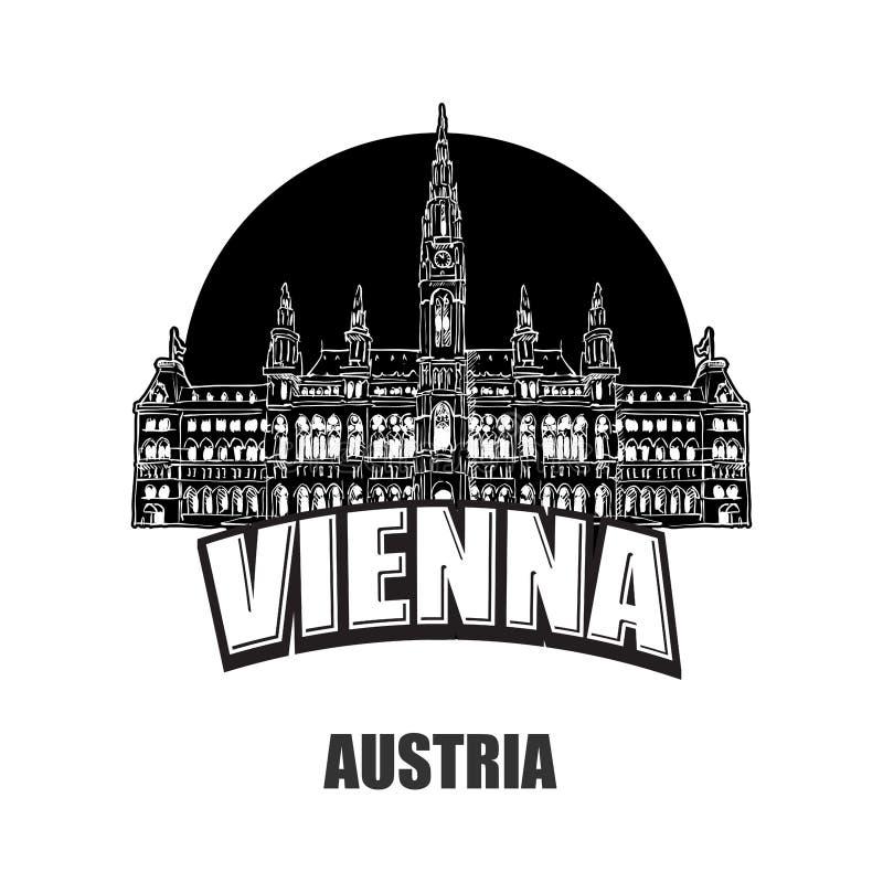 Wien Österrike, svartvit logo royaltyfri illustrationer