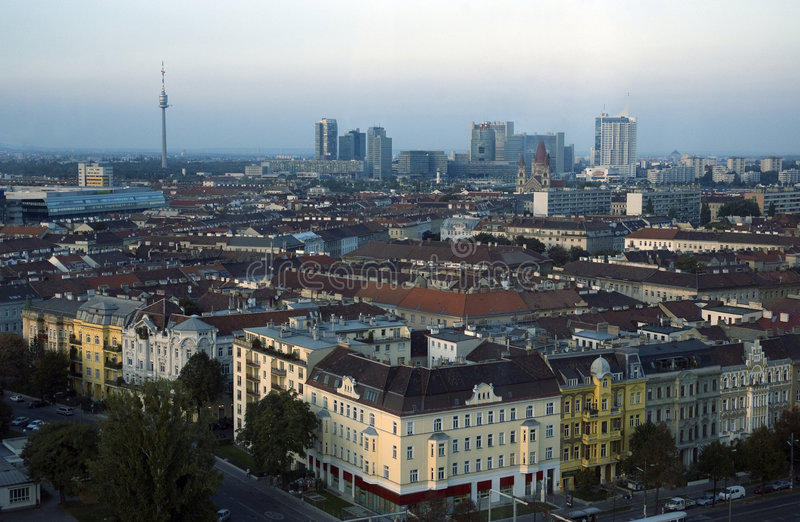 Wien, Austria. Birds-eye view of Wien, Austria, taken from Prater stock photos