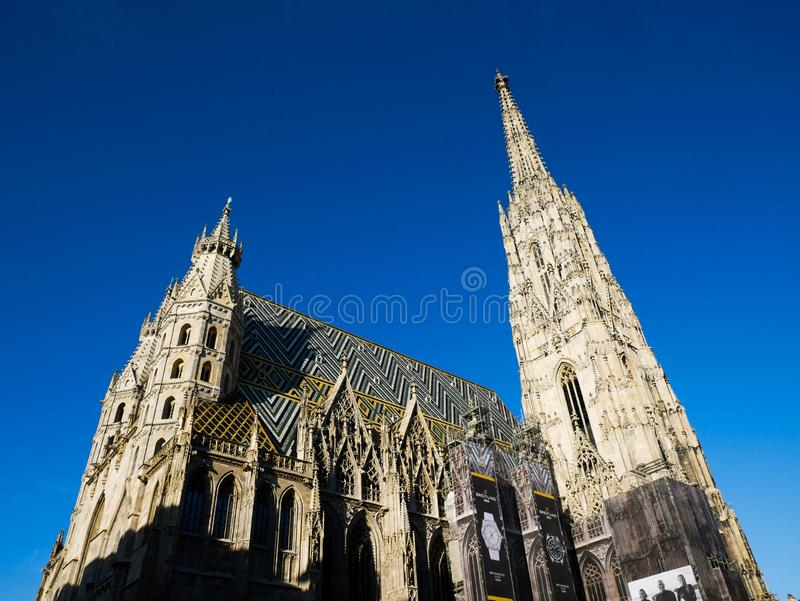 Wien/Austria - june 3 2019: view of the exterior of the gothic saint Stephan catedral at Vienna austria. Copy space royalty free stock photos
