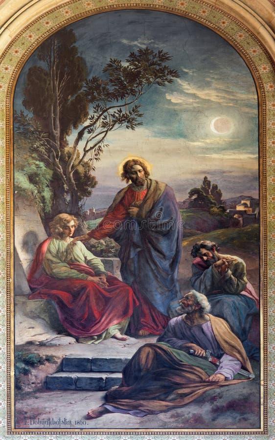 Wien - bön av Jesus i den Gethsemane trädgården av Franz Josef Dobiaschofsky från. cent 19. i den Altlerchenfelder kyrkan royaltyfria foton