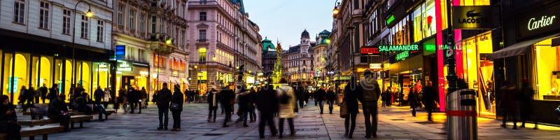 Wien centrum på natten royaltyfria bilder