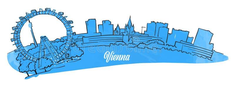 Wien Citiyscape panorama vektor illustrationer